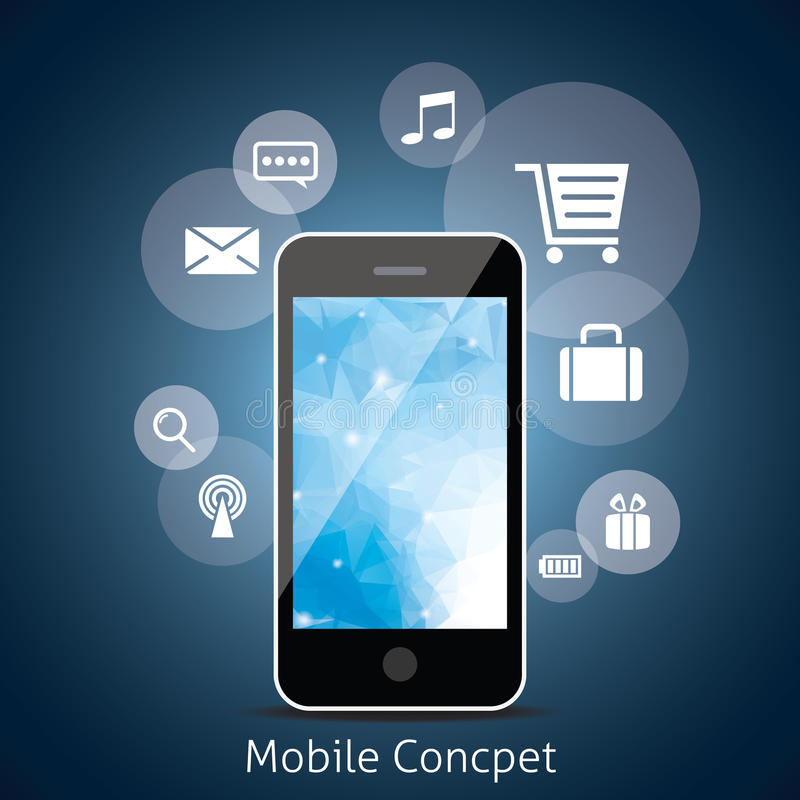 Intelligentes Telefon mit Wolke von Medien-Anwendungs-Ikonen. vektor abbildung
