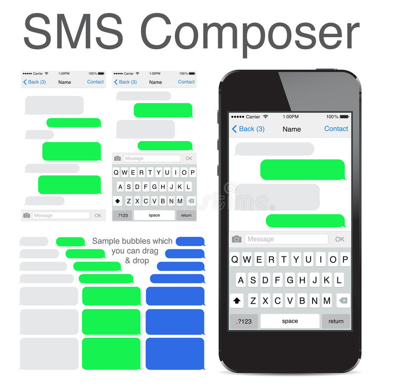 Intelligentes Telefon plaudernde sms Schablonenblasen lizenzfreie abbildung