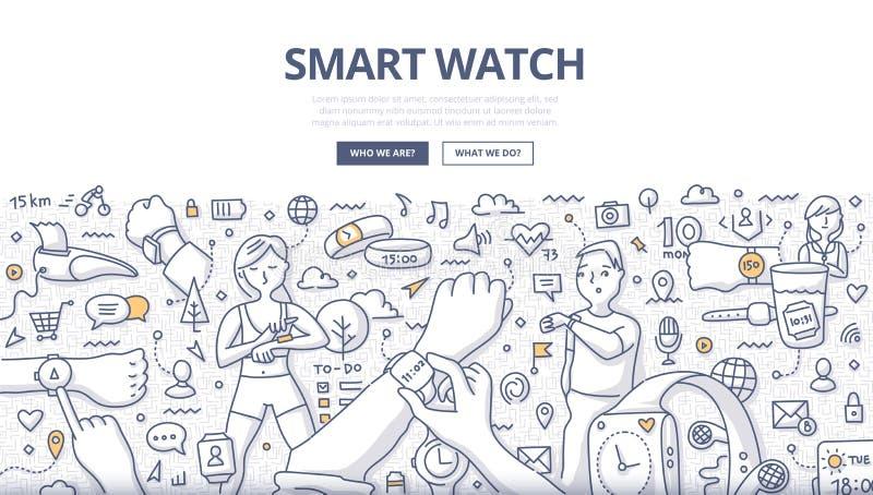 Intelligentes Uhr-Gekritzel-Konzept stock abbildung