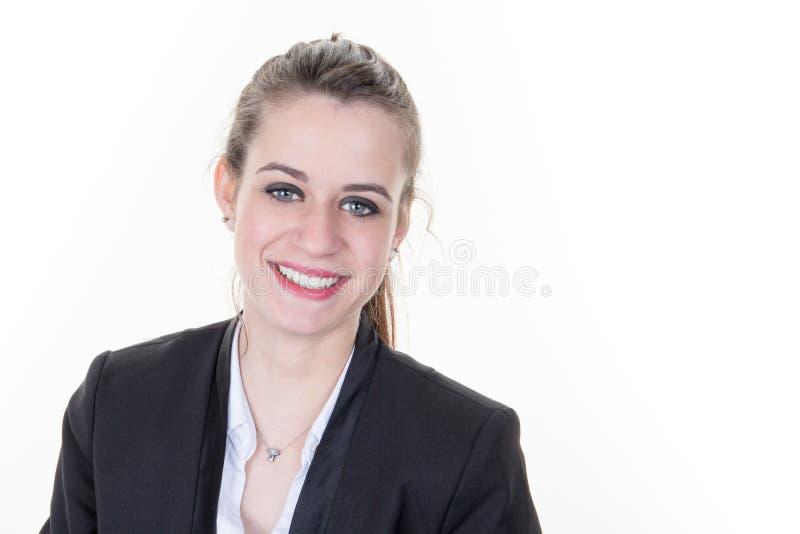 Intelligentes intelligentes zufälliges Geschäftspersonenporträt mit aufrichtigem Lächeln lizenzfreie stockbilder