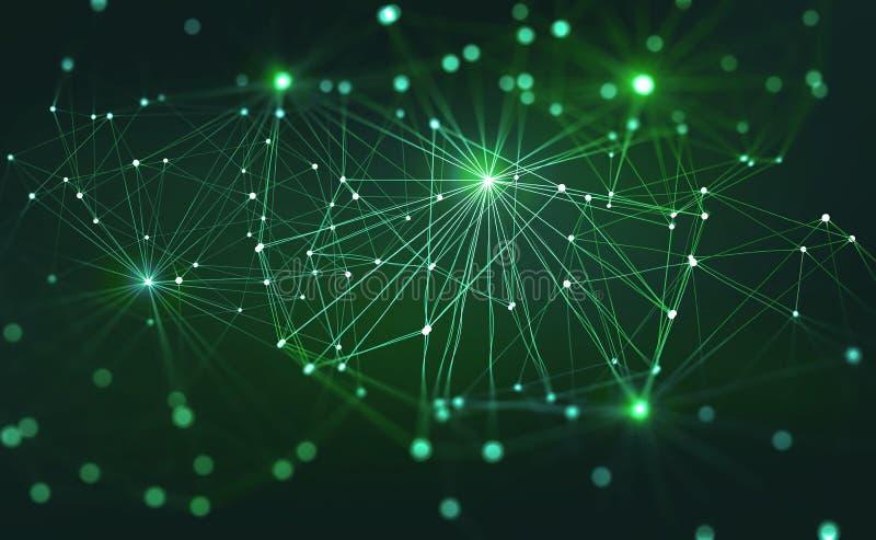 Intelligenza artificiale Basato su rete neurale di Digital sul cervello umano Mente del computer del futuro illustrazione vettoriale