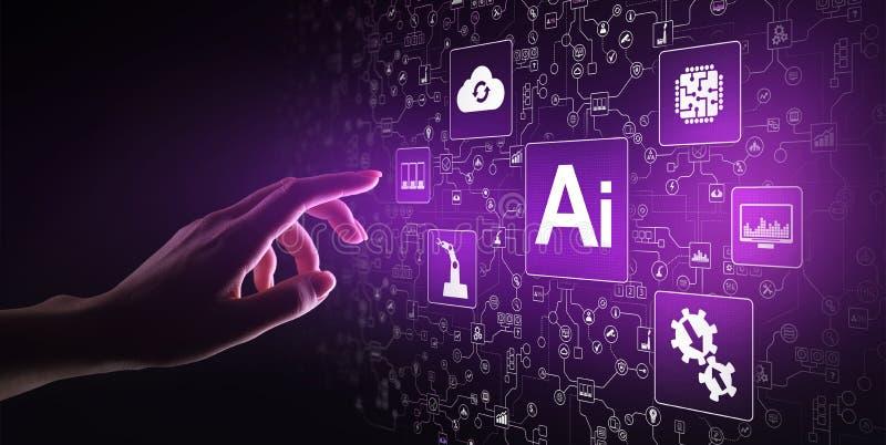 Intelligenza artificiale di AI, apprendimento automatico, grande analisi dei dati e tecnologia di automazione nell'affare immagini stock