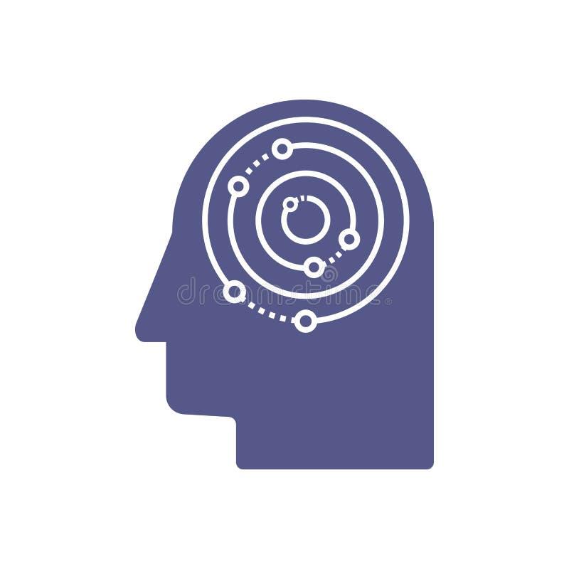 Intelligenza artificiale e modello capo umano di logo Griglia di elettronica dei circuiti e progettazione di vettore di comunicaz illustrazione di stock