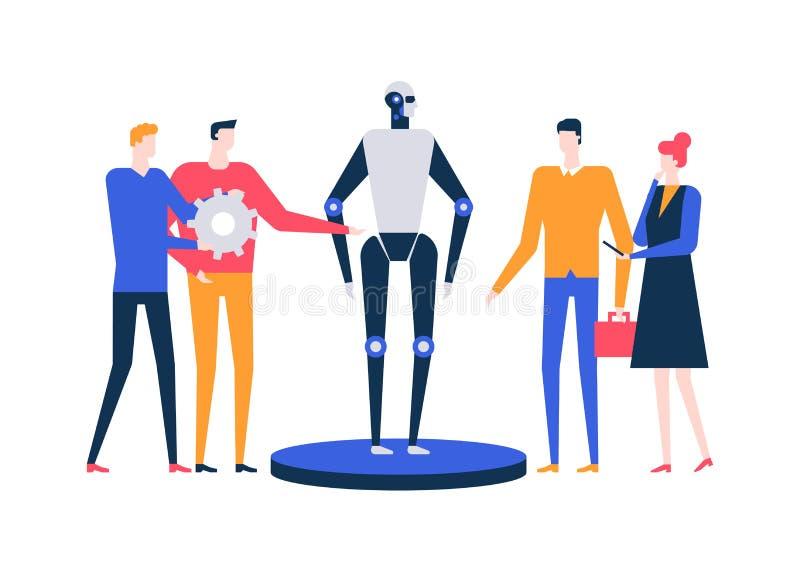 Intelligenza artificiale - illustrazione variopinta di stile piano di progettazione illustrazione di stock