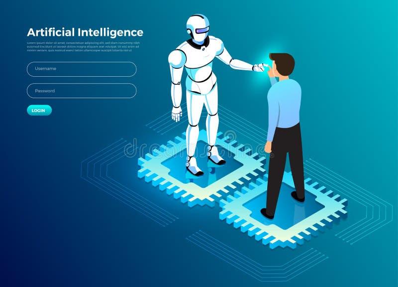 Intelligenza artificiale isometrica AI illustrazione di stock