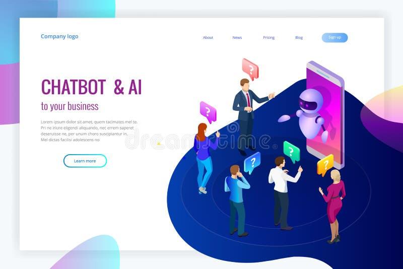 Intelligenza artificiale isometrica Bot di chiacchierata e vendita di futuro Concetto di affari e di AI IOT Equipaggia e la chiac royalty illustrazione gratis
