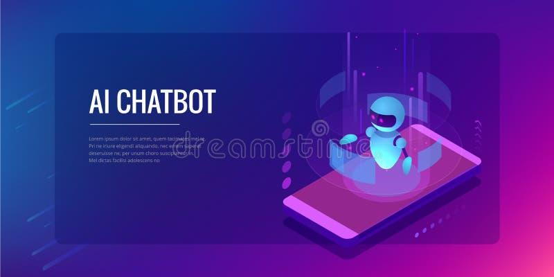 Intelligenza artificiale isometrica Chatbot e vendita futura Concetto di affari e di AI IOT Servizio di aiuto di dialogo illustrazione di stock