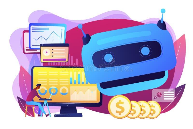 Intelligenza artificiale nell'illustrazione di finanziamento di vettore di concetto illustrazione vettoriale