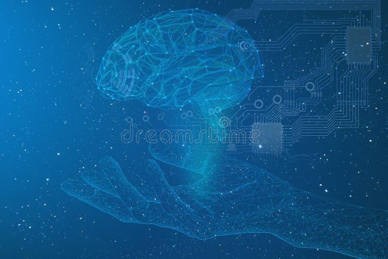 intelligenza artificiale, rappresentazione concettuale di un braccio del cyborg e cervello con i collegamenti elettronici nello s illustrazione di stock