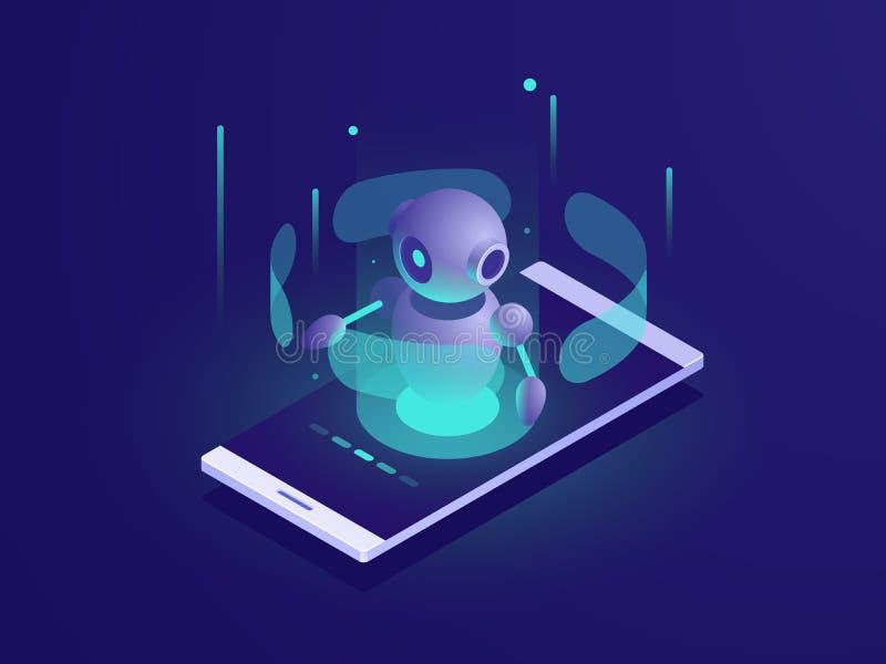 Intelligenza artificiale, robot isometrico di ai sullo schermo del telefono cellulare, neon di vettore di app del chatbot illustrazione vettoriale
