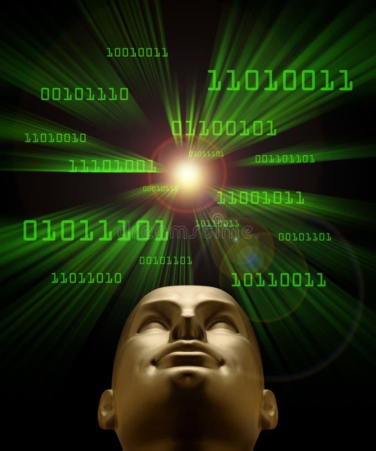 Intelligenza artificiale simbolizzata dal codice binario illustrazione vettoriale