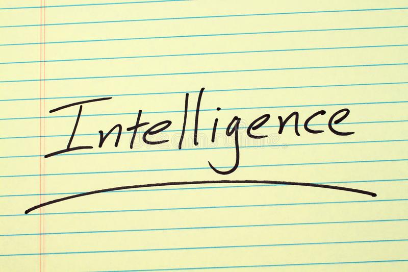 Intelligenza su un blocco note giallo immagine stock libera da diritti