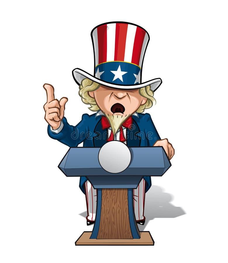 Intence de tío Sam Presidential Podium ilustración del vector