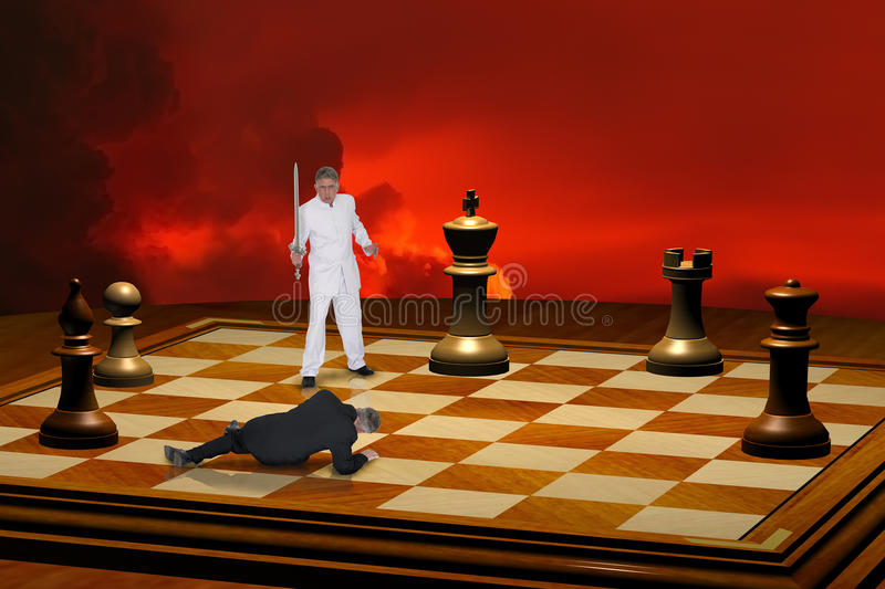 Intense Competition and Strategy. Intense competition. Image can be two businessmen competing with each other or a metaphor for good and evil. The chessboard and royalty free stock photo