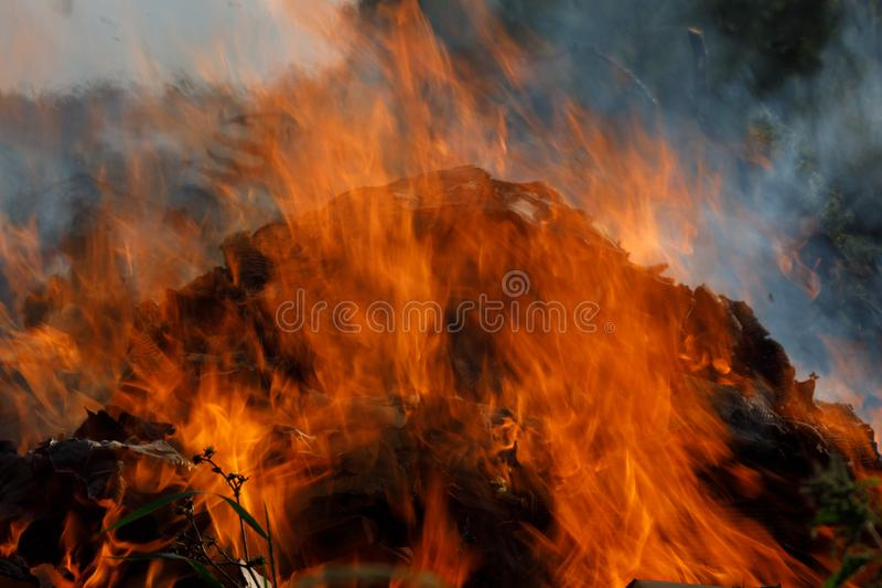 Intense crackling fire as flame lick at the air stock image