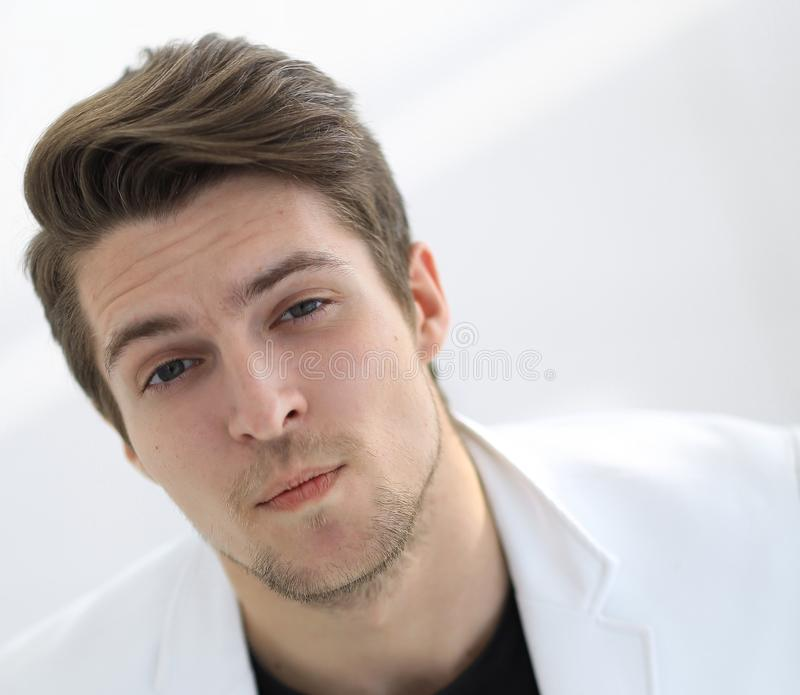 Intense man close up portrait stock photo