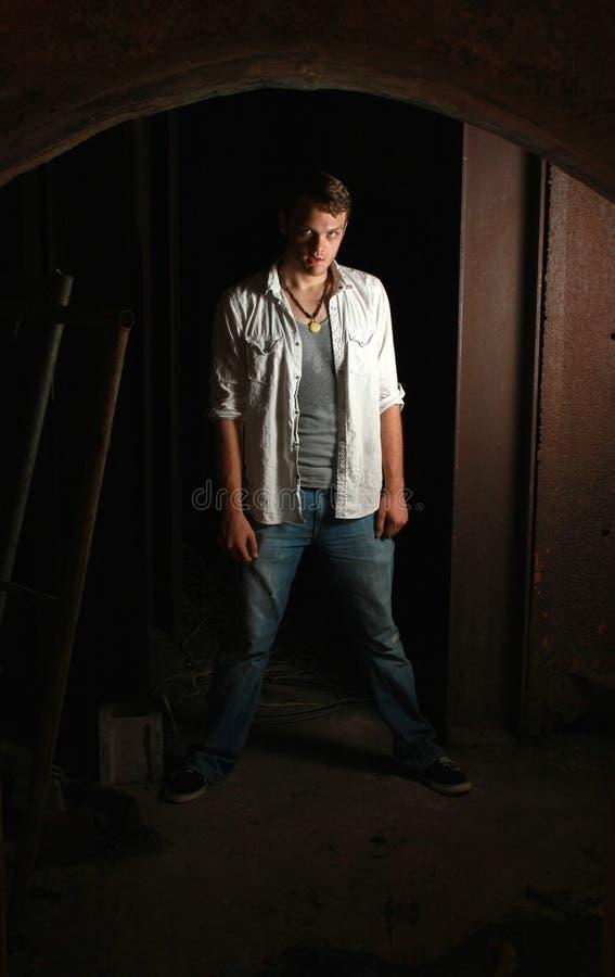 Download Intense Man Standing In Dark Stock Image - Image of intense, head: 21358453