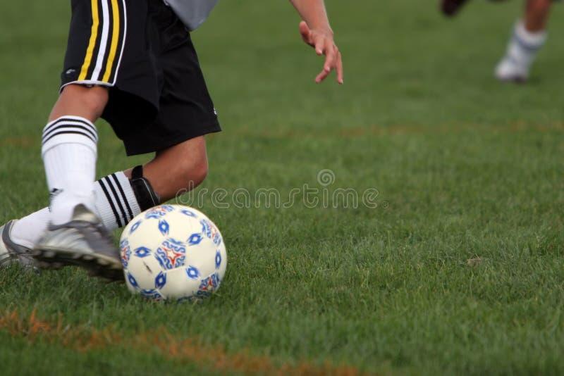 Intense Soccer Kick royalty free stock photography