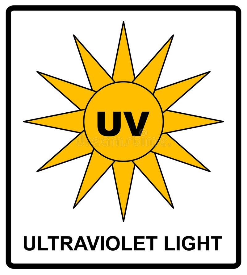 Intensity Ultraviolet Light Protect Your Eyes UV. Vector sticker label for public places vector illustration
