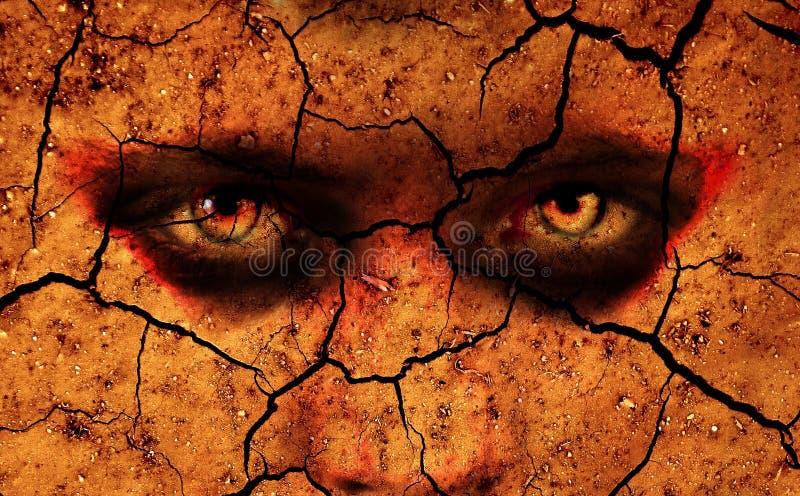 Intensive Augen, die heraus von gebrochenem Boden schauen lizenzfreies stockbild