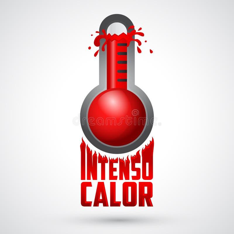 Intenso calor - intensywnego upału hiszpański tekst, wektoru pogodowy znak ostrzegawczy ilustracji