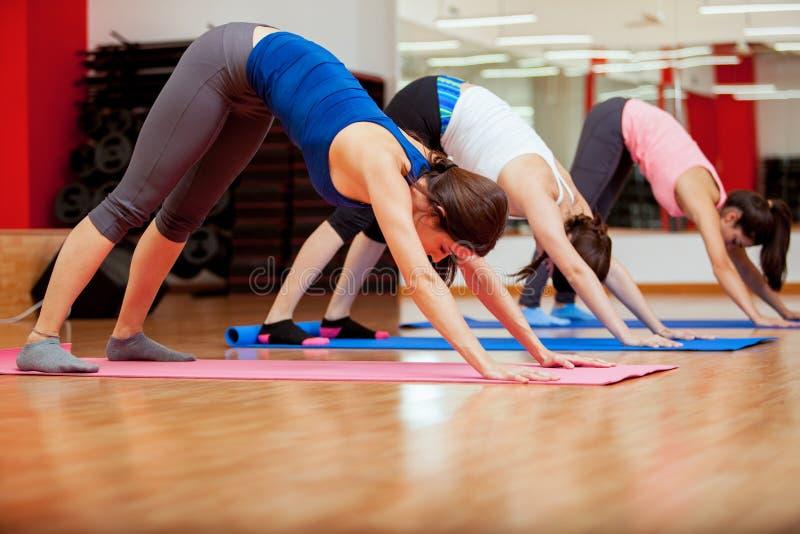 Intentar una nueva actitud durante clase de la yoga foto de archivo