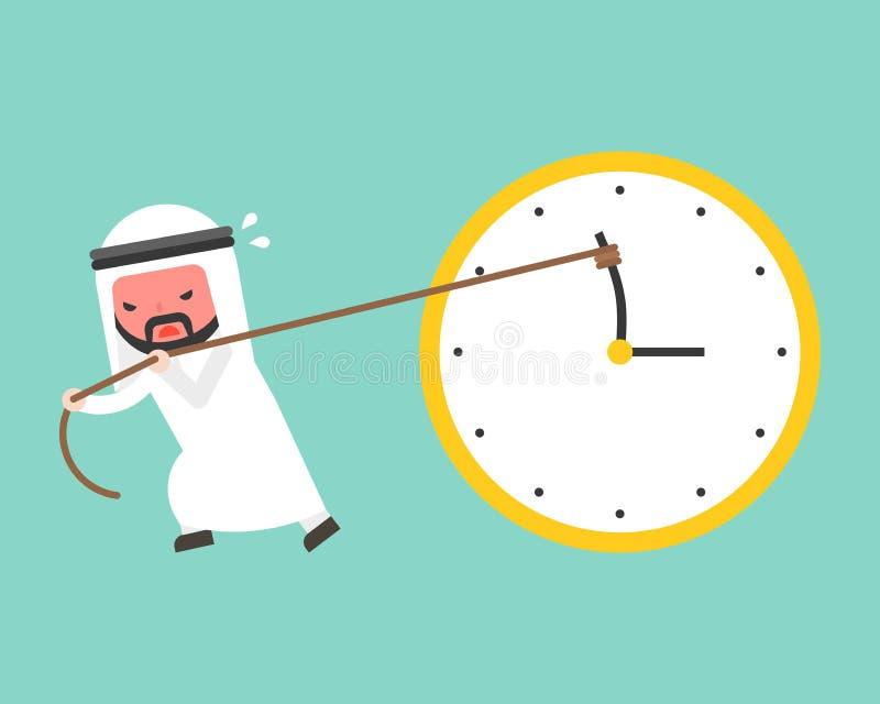 Intento árabe del hombre de negocios difícilmente para tirar de clockwis antis de la mano minuciosa stock de ilustración