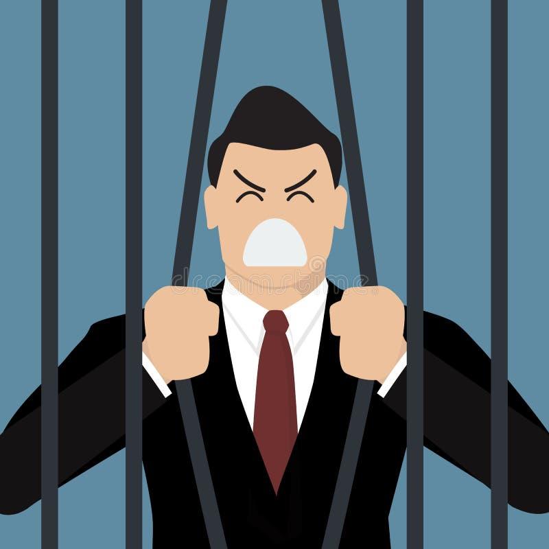Intento del hombre de negocios a escaparse de la prisión stock de ilustración