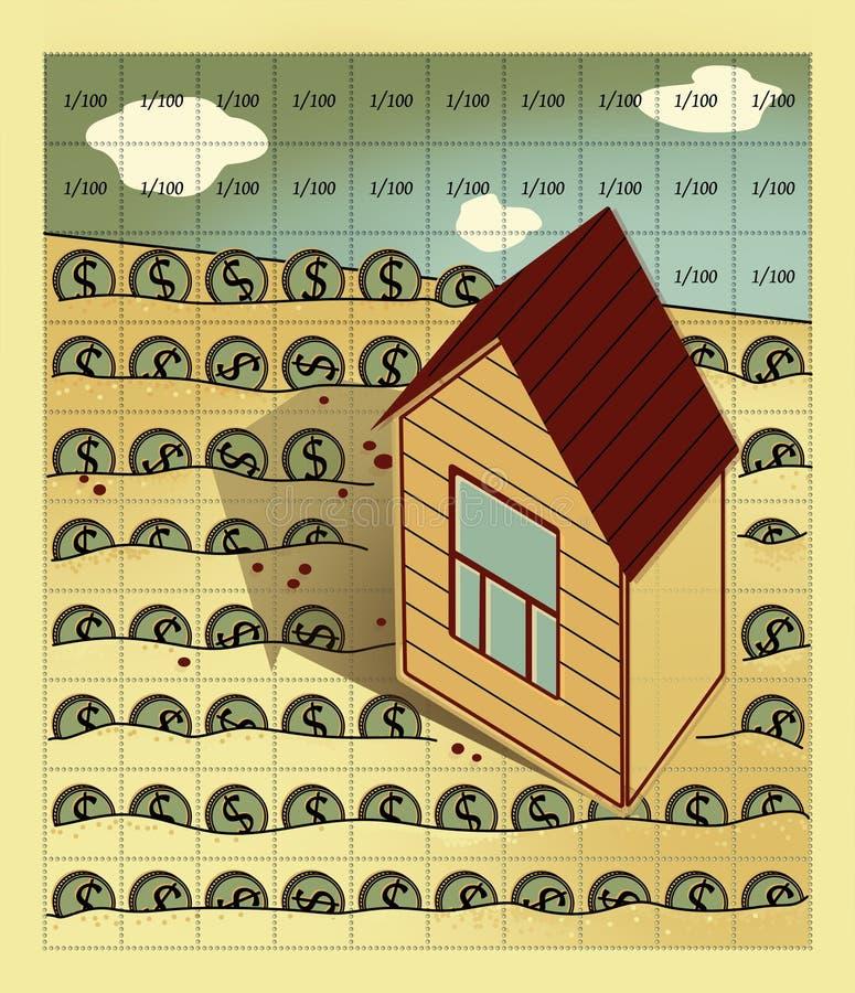 Interés y dividendos La casa con los soportes de un tejado de aguilón y de una ventana en el campo, dividido por la perforació stock de ilustración