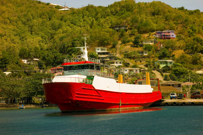 An inter-island passenger ferry in the windward islands stock photo