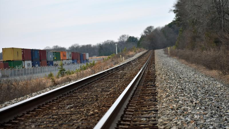 Intermodal Rail Yard Siding at Inland Port Greer Next to Main Line Rail Tracks royalty free stock image