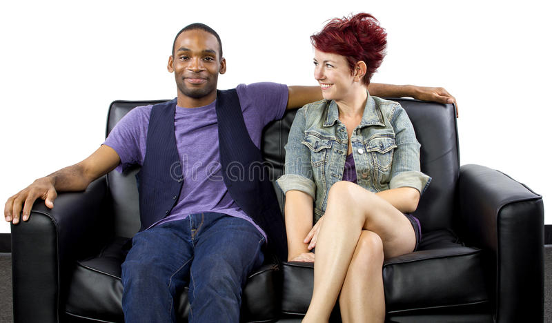Inter-Racial Couple. Young crush between black male and white female royalty free stock photos