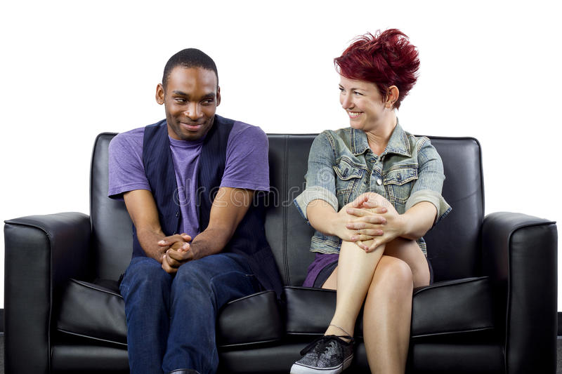 Inter-Racial Couple. Young crush between black male and white female royalty free stock photo