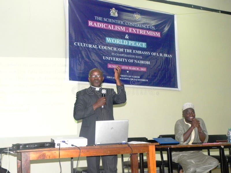 Inter -religious program. Pastors speaks in an Inter religious program in Nairobi, dialogue on extremism stock photos