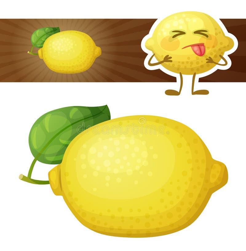 Intera illustrazione della frutta del limone Icona di vettore del fumetto isolata su fondo bianco illustrazione vettoriale