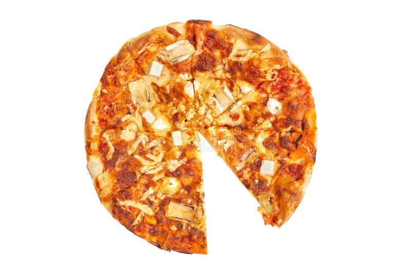 Intera pizza, una mancanza della fetta fotografia stock