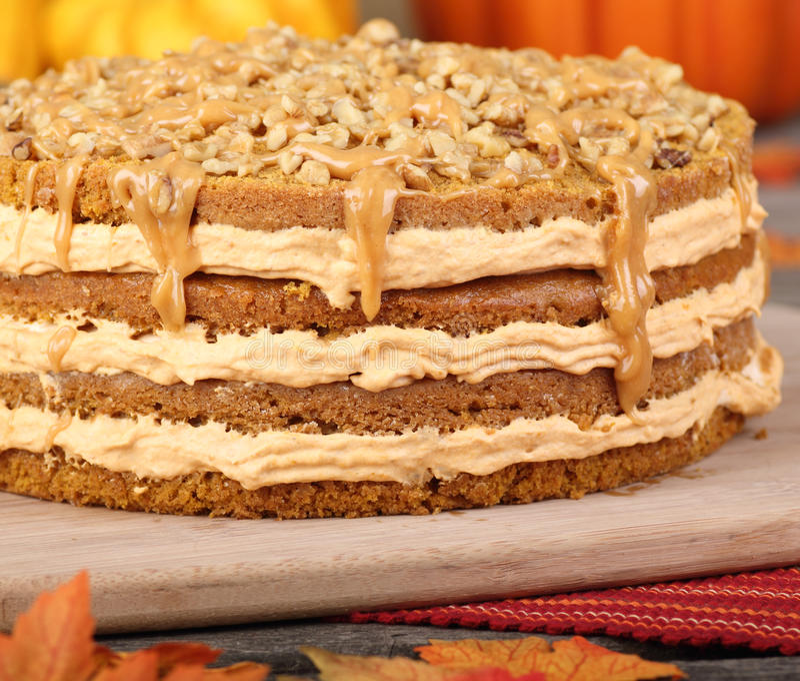 Intera torta della zucca fotografia stock