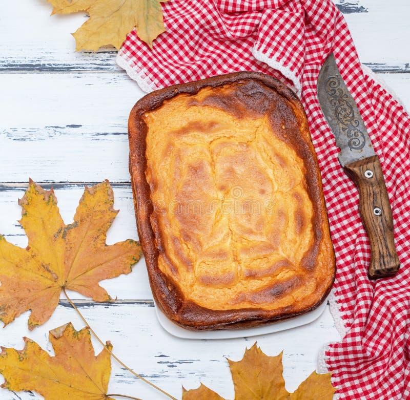 Intera torta rettangolare della ricotta e della zucca su w bianco fotografia stock