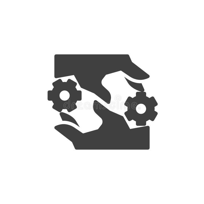 Interacción, icono del vector del trabajo en equipo stock de ilustración