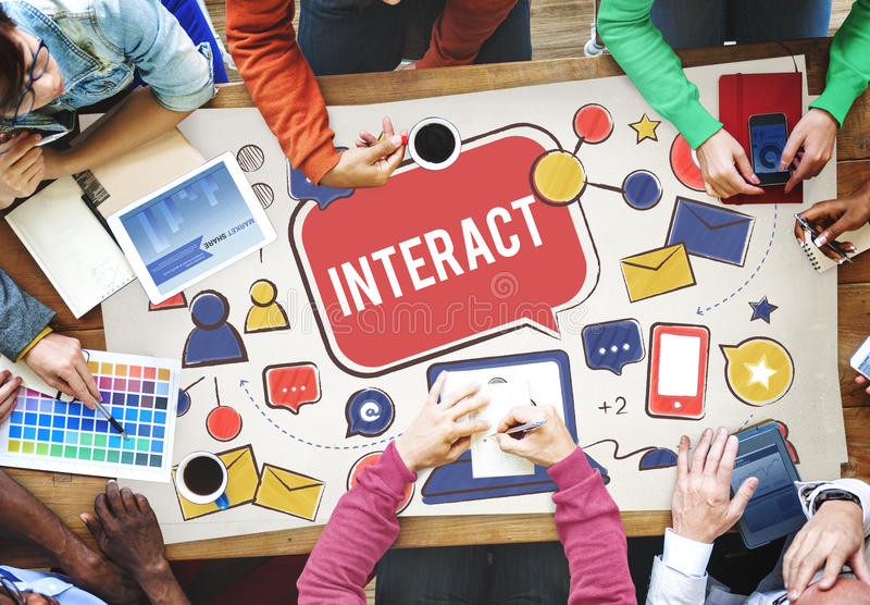 Interact Communicate Connect Social Media Social Networking Concept stock image