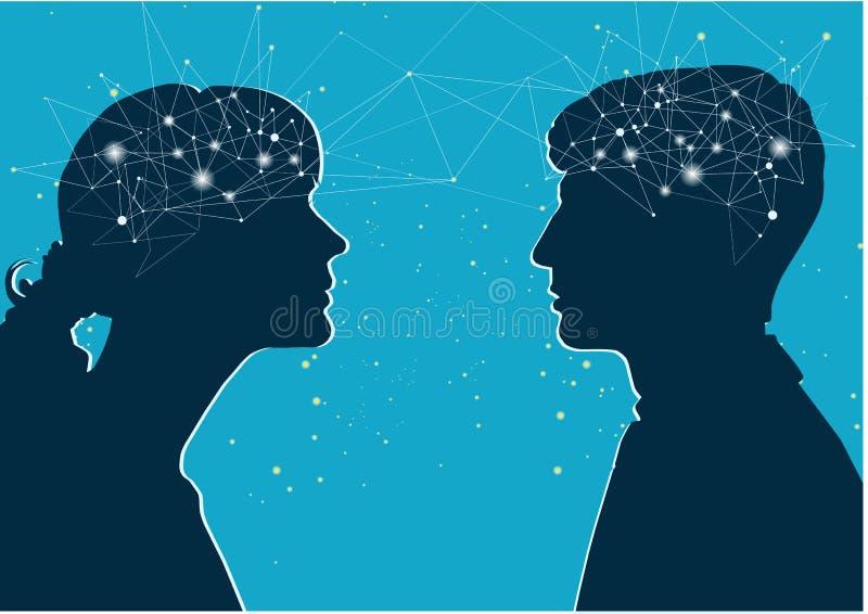 Interactie van geslachten Mannelijk en vrouwelijk profiel, het concept mededeling vector illustratie