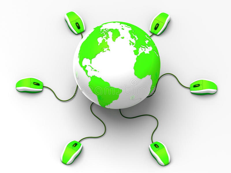 Interactie wereldwijd vector illustratie