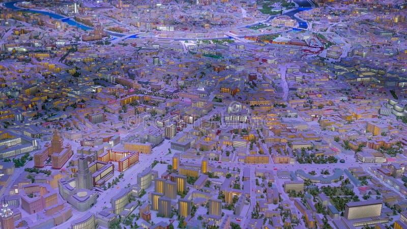 Interactief 3D-stadsmodel van Moskou royalty-vrije stock afbeelding
