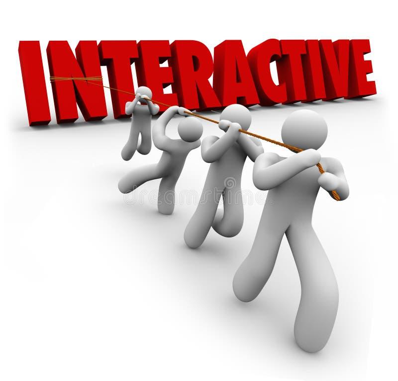 Interactief die Word door Team Working Together wordt uitgetrokken stock illustratie