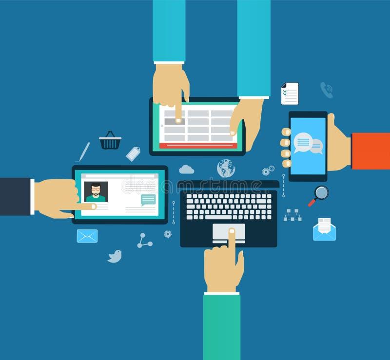 Interactiehanden die mobiele apps, concepten mobiele apps gebruiken royalty-vrije illustratie