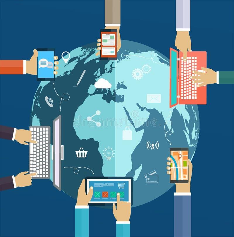 Interactiehanden die toetsenbord en mobiele toepassingen gebruiken vector illustratie