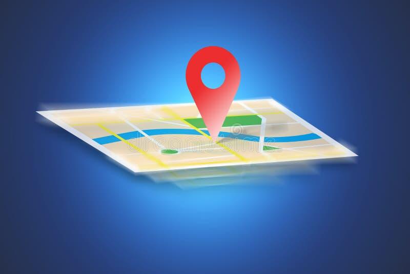 Interactieve die kaart op een achtergrond wordt geïsoleerd - GPS-conc localisatie stock foto