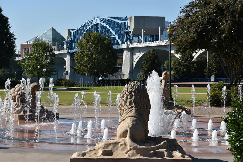 Interactieve fontein bij Coolidge-Park in Chattanooga, Tennessee stock fotografie