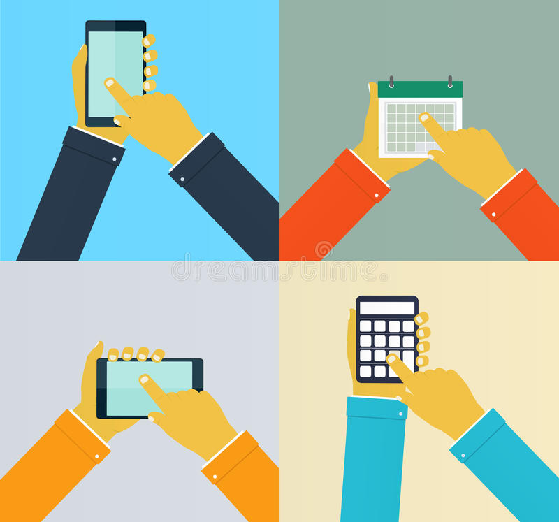 Interaction hands using mobile apps. Illustration stock illustration