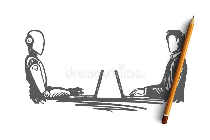 Interaction, HCL, automation, communication, concept d'association Vecteur d'isolement tiré par la main illustration de vecteur